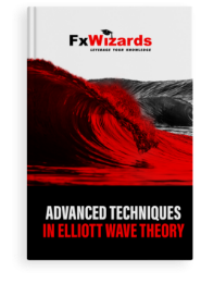 Book cover with a big red wave in the sea. FxWizards logo on top and Advanced Techniques in Elliott Wave Theory at the bottom in black background.