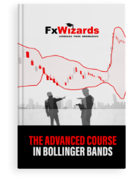 Book cover with two male figures pointing to Bollinger Bands with red and gray candles and at the back a group of skyscrapers. FxWizards logo on top and The Advanced Course in Bollinger Bands at the bottom in black background.