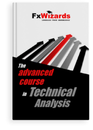 Book cover with seven arrows pointing in top right colored in black and gray with a red one the middle. FxWizards logo on top and The Advanced Course in Technical Analysis at the bottom in black background.
