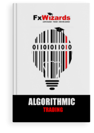 book cover showing tiger with black dots, sitting in front of skyscrapers and staring at you. FxWizards logo on top and Book cover with a light bulb comprised of black vertical lines and one red line, made up of zeros and ones. FxWizards logo on top and Algorithmic Trading at the bottom in black background.Chart Construction at the bottom in black background.