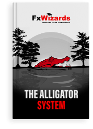 Book cover with a head of red alligator out of the water in a swamp between three cypress trees. Grayscale background. FxWizards logo on top and The Alligator System at the bottom in black background.