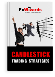 Book cover with two men and one woman in suits jumping in the air smiling in front of four black declining candles and four white rising.  FxWizards logo on top and Candlestick Trading Strategies at the bottom in black background.