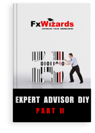 Book cover with one man pushing to the left a jigsaw puzzle piece made up of many black and one red vertical line. FxWizards logo on top and Expert Advisor Part II at the bottom in black background.