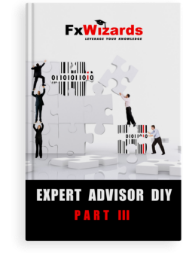Book cover with three men in black suits supported by each other's hands to reach the top of a puzzle. In the right of the over one man pushing a puzzle piece to the left made up by many black and one red line. On top of this puzzle piece another man is pushing a white puzzle piece high to fit the jigsaw puzzle. FxWizards logo on top and Expert Advisor Part III at the bottom in black background.