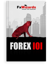 book cover showing tiger with black dots, sitting in front of skyscrapers and staring at you. FxWizards logo on top and Chart Construction at the bottom in black background.