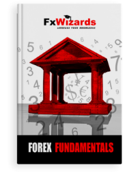 Book cover with a Bank monument in red and number and currency symbols in the background. FxWizards logo on top and Forex Fundamentals at the bottom in black background.