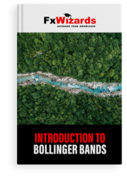 Book cover with a dense green forest and a blue river flowing in the middle. FxWizards logo on top and Introduction to Bollinger Bands at the bottom in black background.