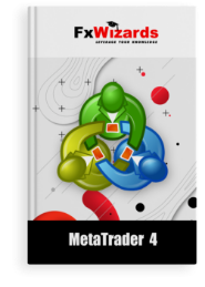 the MetaTrader 4 on the cover of the book. FxWizards logo on top and MetaTrader 4 written at the bottom in black background