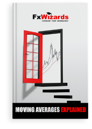 Book cover with a red door open revealing prices hovering above two moving averages. FxWizards logo on top and Moving Averages Explained at the bottom in black background.