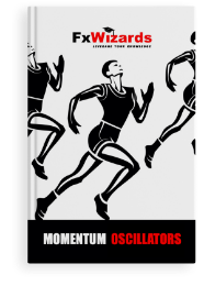 Book cover with three male runners in black shorts and sleeveless t shirts on white background. FxWizards logo on top and Momentum Oscillators at the bottom in black background.
