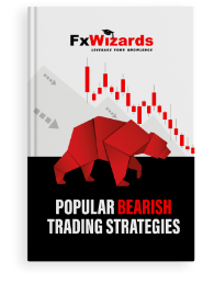 Book cover with a red bear and bearish candlesticks in red. FxWizards logo on top and Popular Bearish Trading Strategies at the bottom in black background.