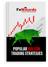Book cover with a green bull and bullish candlesticks in red. FxWizards logo on top and Popular Bullish Trading Strategies at the bottom in black background.