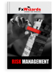 Book cover with a Jenga skewed to the right and a hand carefully removing a red block. FxWizards logo on top and Risk Management at the bottom in black background.