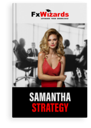 Book cover with a blond lady in red dress on a black and white background showing a boardroom meeting. FxWizards logo on top and Samantha Strategy at the bottom in black background.