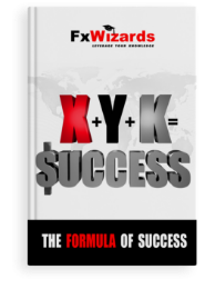 Book cover with an equation of x plus y plus k equals to success with the first s being a us dollar sign. FxWizards logo on top and The Formula of Success at the bottom in black background.