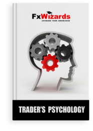 Book cover with an outline of a human face with four Plutchik wheels of emotions in the brain colored red, black, dark and light gray. FxWizards logo on top and Trader's Psychology at the bottom in black background.