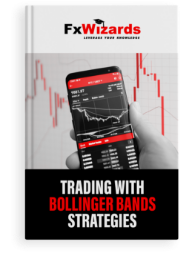 Book cover with a black mobile showing price action on the screen and Bollinger Bands with red candles in the book cover background. FxWizards logo on top and Trading with Bollinger Bands Strategies at the bottom in black background.