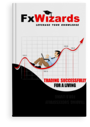 Book cover with a trader on a hammock made by an up trendline holding a laptop and in the background a square grid table. FxWizards logo on top and Trading Successfully for a Living at the bottom in black background.