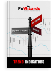 address pole with down trend on gray plate pointing to the left, range to the right on brown plate and up trend on red plate straight. FxWizards logo on top and Trend Indicators at the bottom in black background.